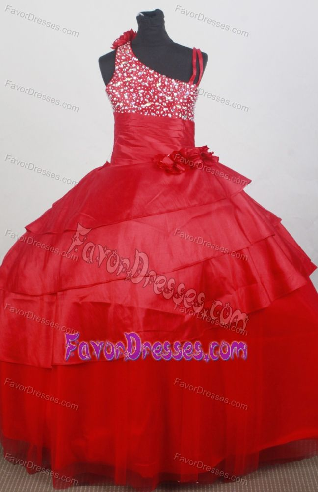 Impressive Asymmetrical Red Flowers Tulle Pageant Dresses for Little Girls