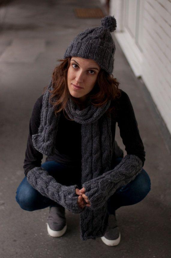 Fingerless Gloves in Dark Gray / Arm Warmers / by DonnaKnitwear