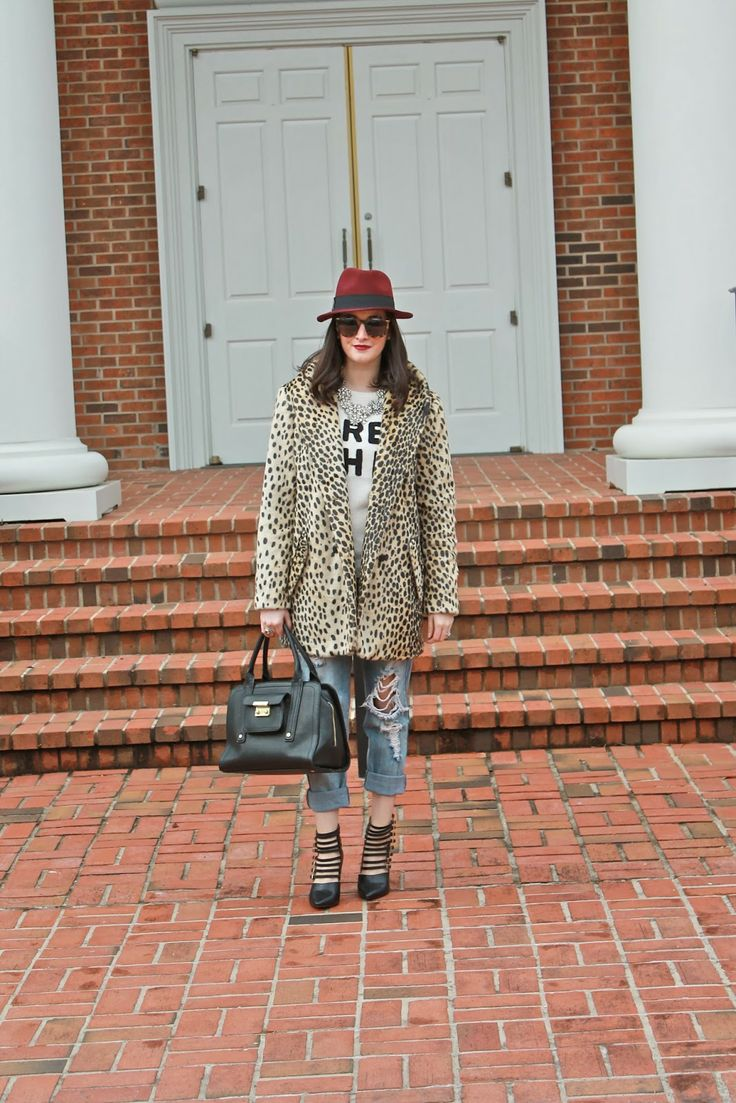 Wake Up Your Wardrobe What I Wore: Bohemian Asos Leopard Coat, Wool Fedora, Deconstructed Boyfriend Jeans, Tres Chic Sweater, Karen Walker Super Duper Sunglasses, MAC Rebel Lipstick