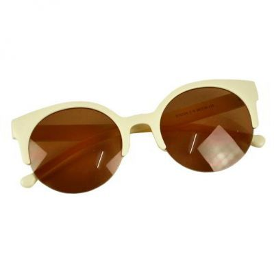 Unisex Retro Designer Super Round Circle Cat Eye Semi Rimless Beige Cute and elegance REPIN if you agree.😊 Only 67.5 IDR