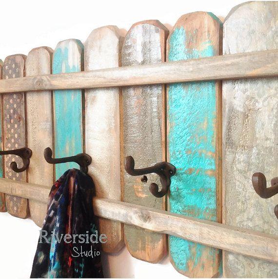 Teal+and+Gray+Wood+Coat+Rack+Handmade+/+Cast+door+RiversideStudioON