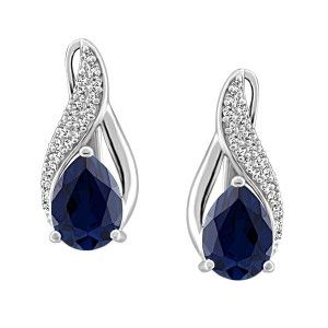 Silver cubic zirconia and synthetic blue sapphire lever back earrings. EAR-SIL-0859
