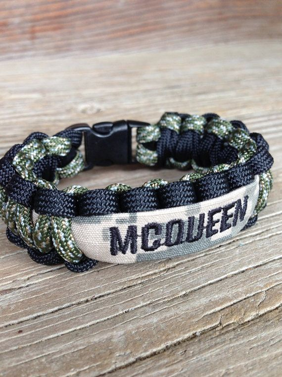 CUSTOM Paracord Bracelet with Name Tape / Army / by CADETcouture