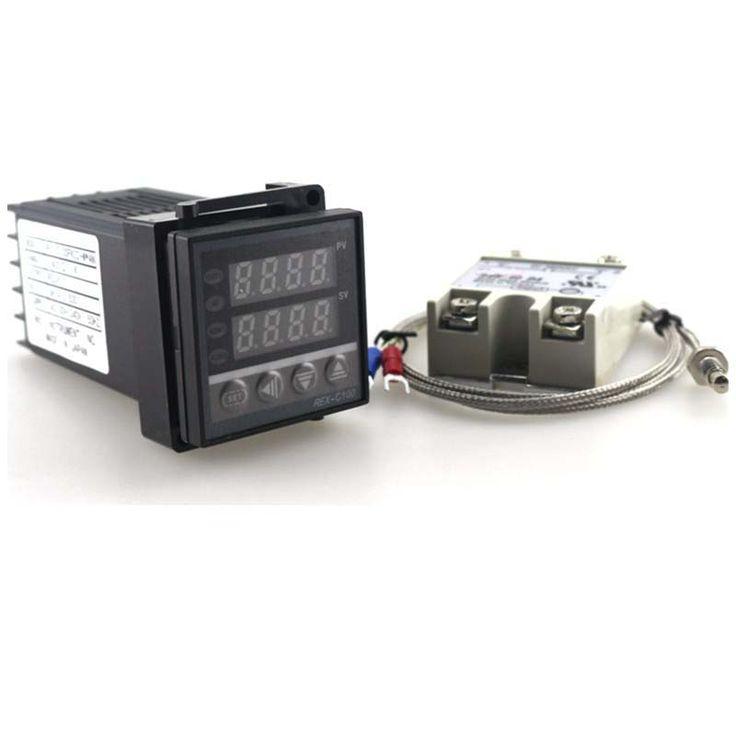 Double PID Thermostat Régulateur SSR Sortie Numérique PID Contrôleur de Température REX-C100 0-400C avec Thermocouple K SSR 40A SSR-40A