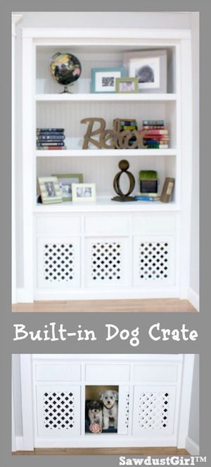 Dog Crate In A Built In Bookshelf Bloggers Best Diy