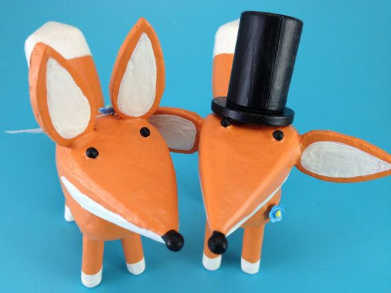 Fox Wedding Cake Toppers   Bride and Groom Fox   Gay Wedding Cake Toppers   Custom Fox Wedding Cake Toppers   Forest Wedding Cake Topper
