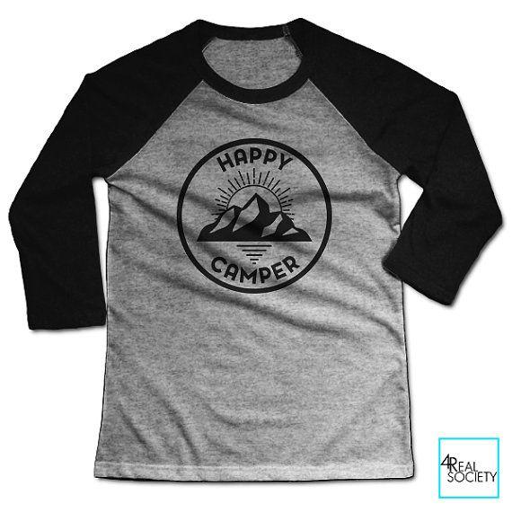 Happy Camper Patch T-shirt | Collection Loisirs | T-shirt de Baseball unisexe