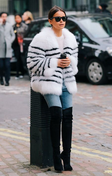 Miroslava Duma in black & white striped fur coat and suede over knee OTK boots:
