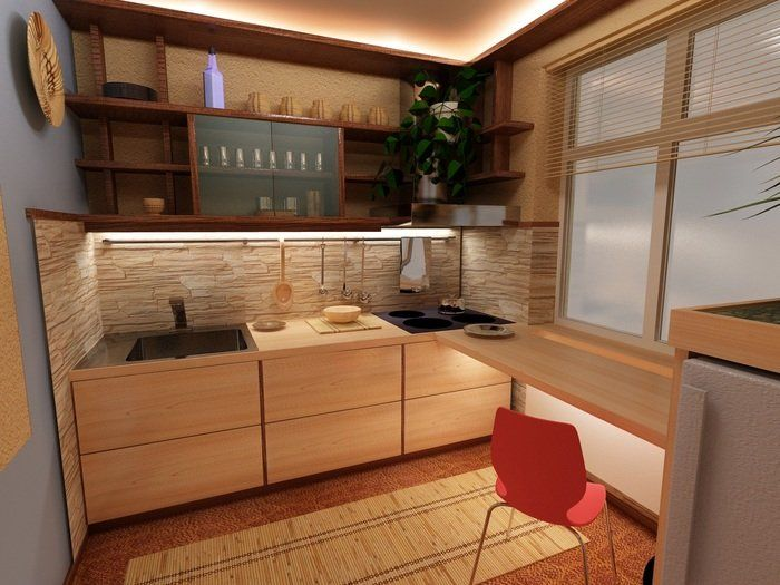 Маленькая кухня, интерьер кухни, дизайн кухни, кухня хрущевка