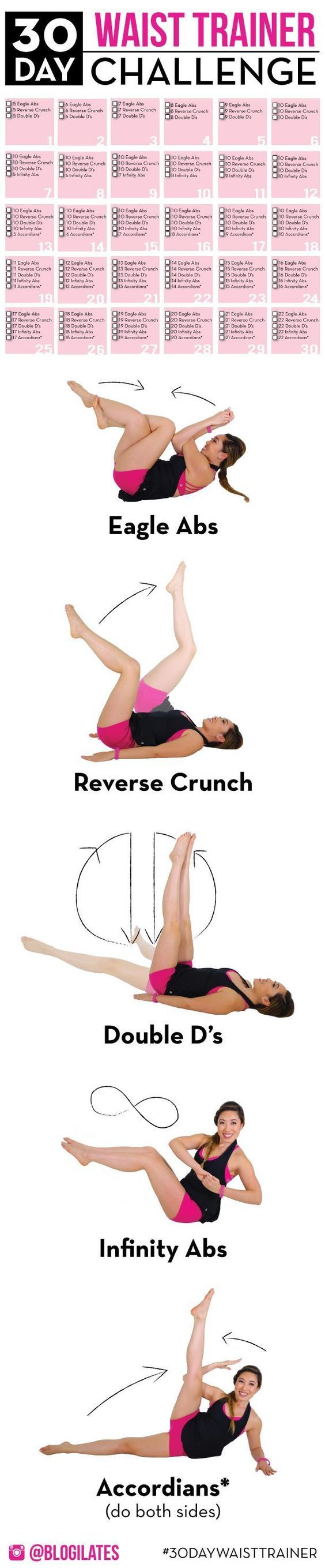 This is the 30 Day Waist Trainer Challenge Workout - Forget wearing those silly waist trainers (which are basically modern day corsets). This will help you tighten the muscle fibers of your own NATURAL CORSET! Your core! So easy to start, but gets harder as you go.