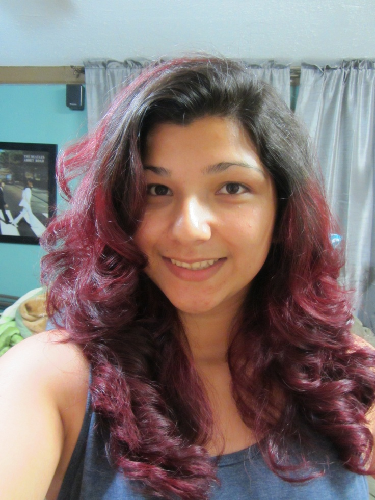 Brown Wavy Hair With Red...