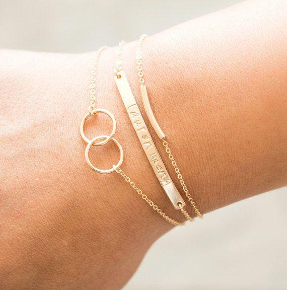 Personalized Bracelet Bar Bracelets Stacking by BlushesAndGold