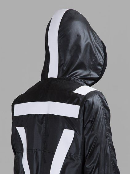 GIVENCHY MEN'S BLACK RAINCOAT   - GIVENCHY BLACK RAINCOAT  - BLACK  - WHITE DETAILS  - HALF ZIP CLOSURE  - FRONT ZIPPED POCKET  - HOOD  - DRAWSTRING  - RUNWAY LOOK 25  - 100% POLYESTER  - MADE IN ITALY