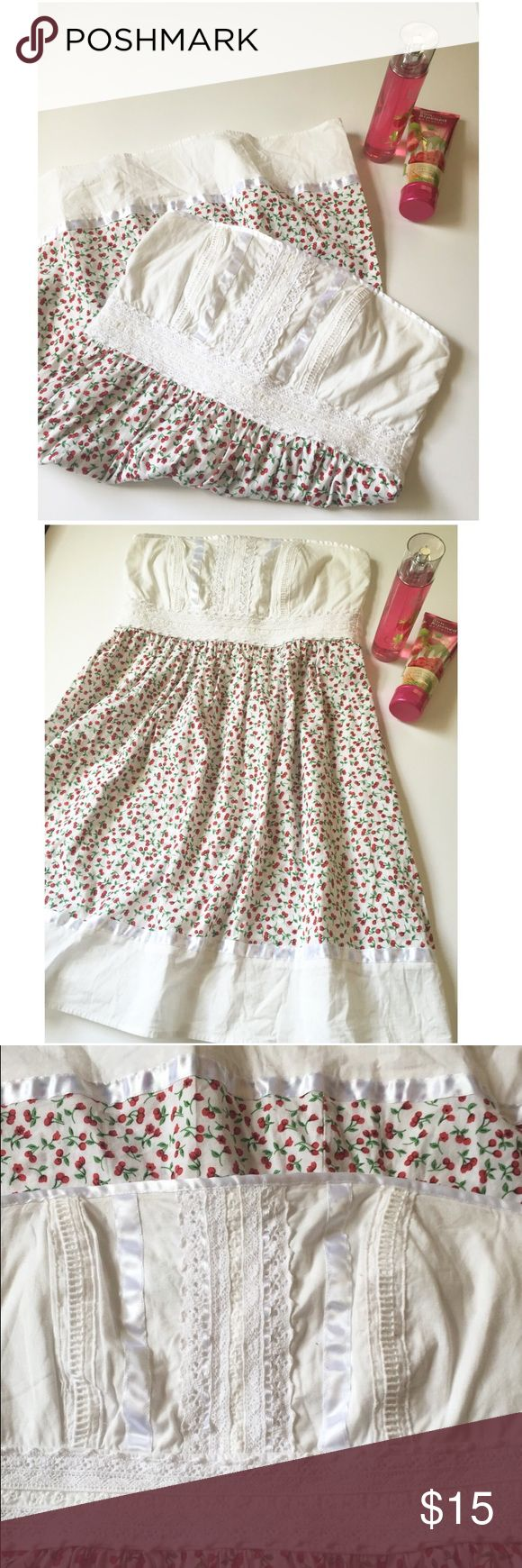 Maurices • Strapless • Summer • Dress Adorable strapless dress with lace, satin and a cute cherry print. Zipper with elastic in the back.  Brand • Maurices.  Size • Large.  Fabric • Shell/Contrast 97% cotton, 3% spandex • Lining 100% polyester.  Measurements upon request. Maurices Dresses Strapless