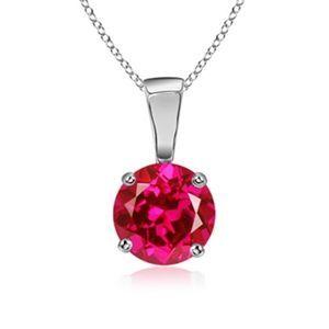 Diamantring / Diamantarmband / Diamantschmuck: 2.10 carats Ruby Pendentif solitaire - or blanc 14...