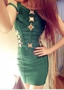 BitsnBags - Fashion dresses and more - 'Edmea' Dark Emerald Green Metal Inserts Bandage Dress, 135.00$ (http://www.bitsnbags.com/edmea-dark-emerald-green-metal-inserts-bandage-dress/)