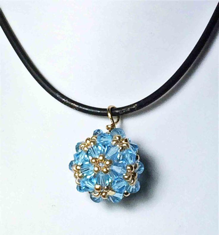 Zelkova Beads - Hana-ami Ball Necklace swarovski light blue seed beads $30