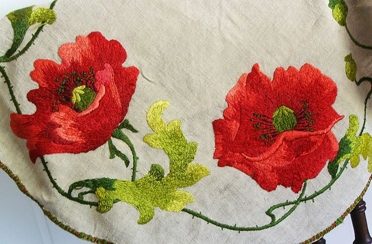 silk embroidered poppies table cover  Private Collection