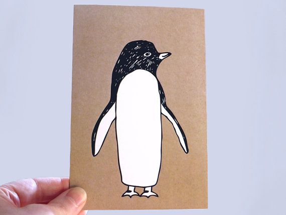 Penguin note card, art print to by AnnaCullArt