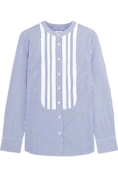 J.Crew - Thomas Mason Grosgrain-trimmed Striped Cotton-poplin Shirt - Blue - US12