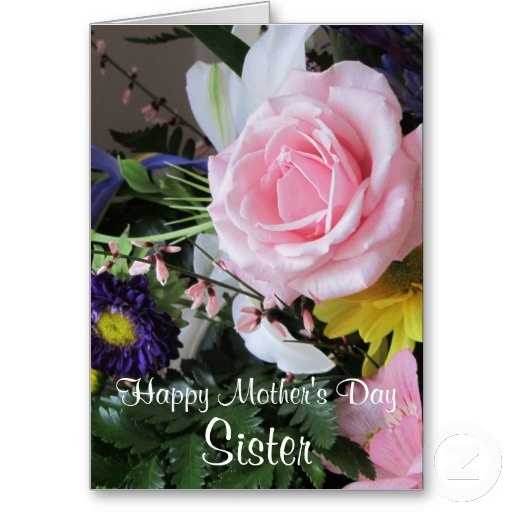 Happy Mothers Day Sister Pink Rose Bouquet Card Greetings Happy