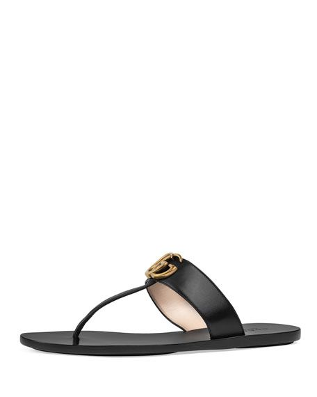 9b6f6db5e73c Get free shipping on Gucci Flat Marmont Leather Thong at Neiman Marcus.  Shop the latest luxury fashions from top designers.