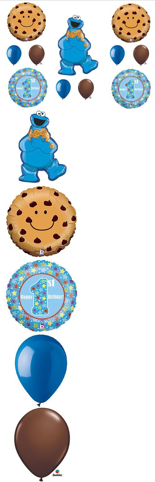 1st First Cookie Monster Sesame Street Birthday Party Balloons Decorations Supplies - Perfect decorations for your little one's 1st Cookie Monster/Sesame Street themed birthday party! This 11 piece set includes: One (1) 31 Cookie Monster shape mylar balloons. Two (2) 21 Smili... - Balloons - Office Products - $12.50