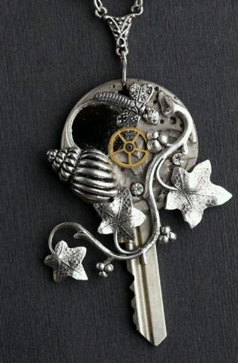steam punk key to my heart necklace