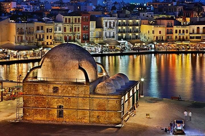 The Old Venetian Harbour in Chania Crete