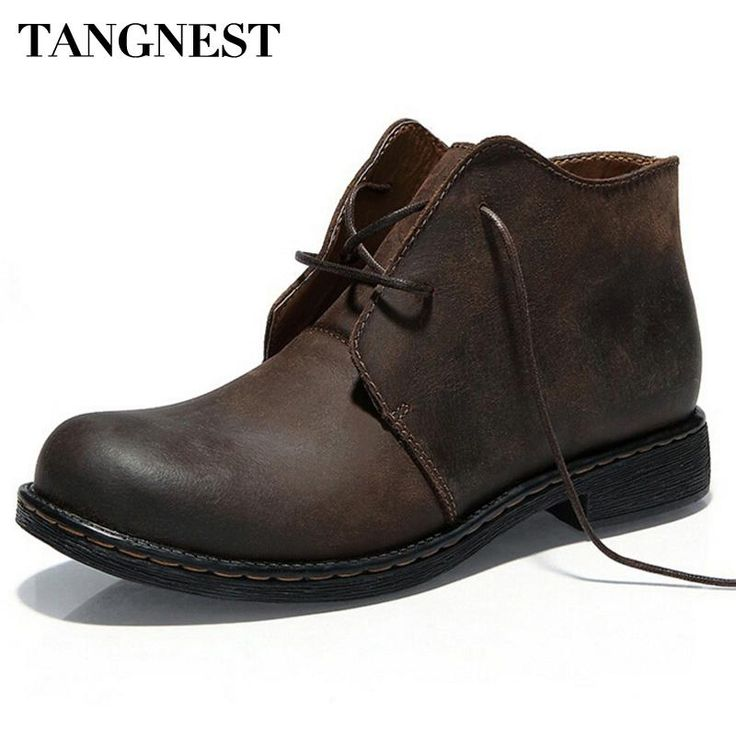 Tangnest Boots Men Autumn Winter Nubuck Leather Ankle Boots Fashion British  Lace-up Cowboy Boots