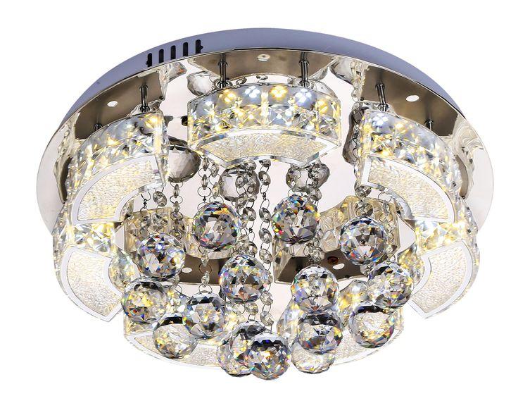 Plafoniera kryształowa TRIPOLI 2x18W LED Lampex srebrny 615/4
