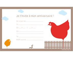 """Carton d'invitation d'anniversaire """"à la ferme"""""""