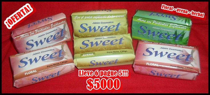 Jabones de altísima calidad SWEET, 130g lleve 6 pague 5 $5000