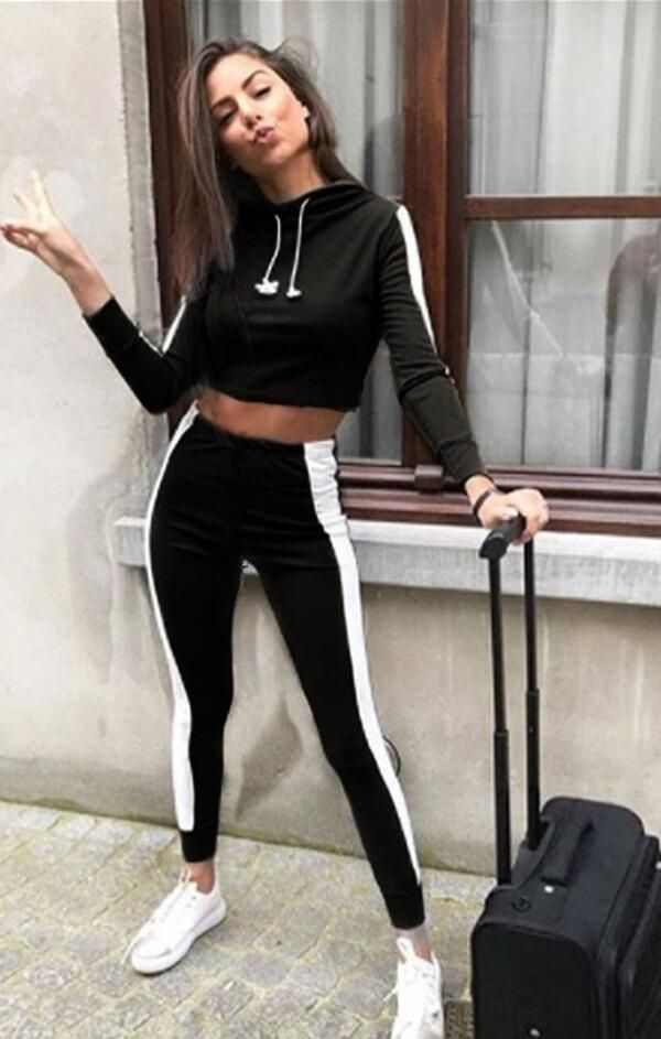 Women Running 2PCS Sets Jog Crop Tops Outfits Letter Skinny Tracksuits
