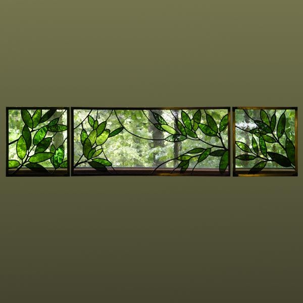 Anne Ryan Miller Glass Studio - Transom of Leaves