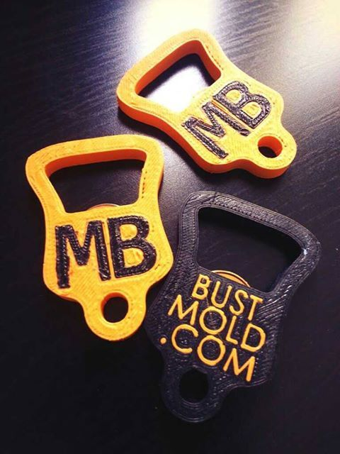 Mold Busters' custom, branded bottle openers  3D-printed by 3Dprintler in Ottawa, ON.