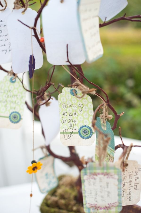 Instead of a guest book, I'd like to use a note tree, where people can write notes to us and hang them up.