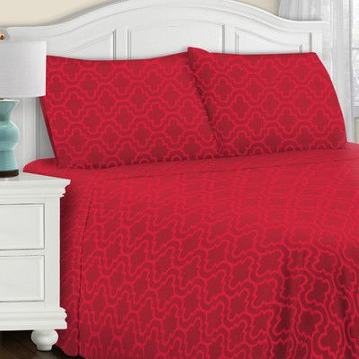 Simple Luxury Superior All Season Cotton Flannel Pillowcase Set Color: Burgundy Trellis, Size: Standard