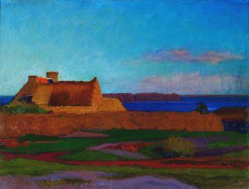 Jules - Emile Zingg 1882-1942 Chaumière devant la baie Plouaret La Clarté 1915