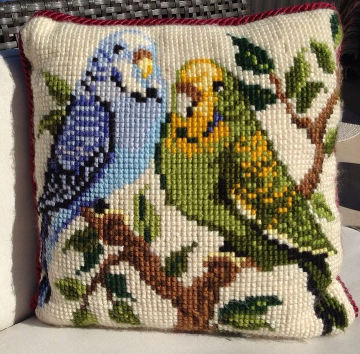 Parakeets Needlepoint Pillow by GailsVintageGarden on Etsy, $42.00