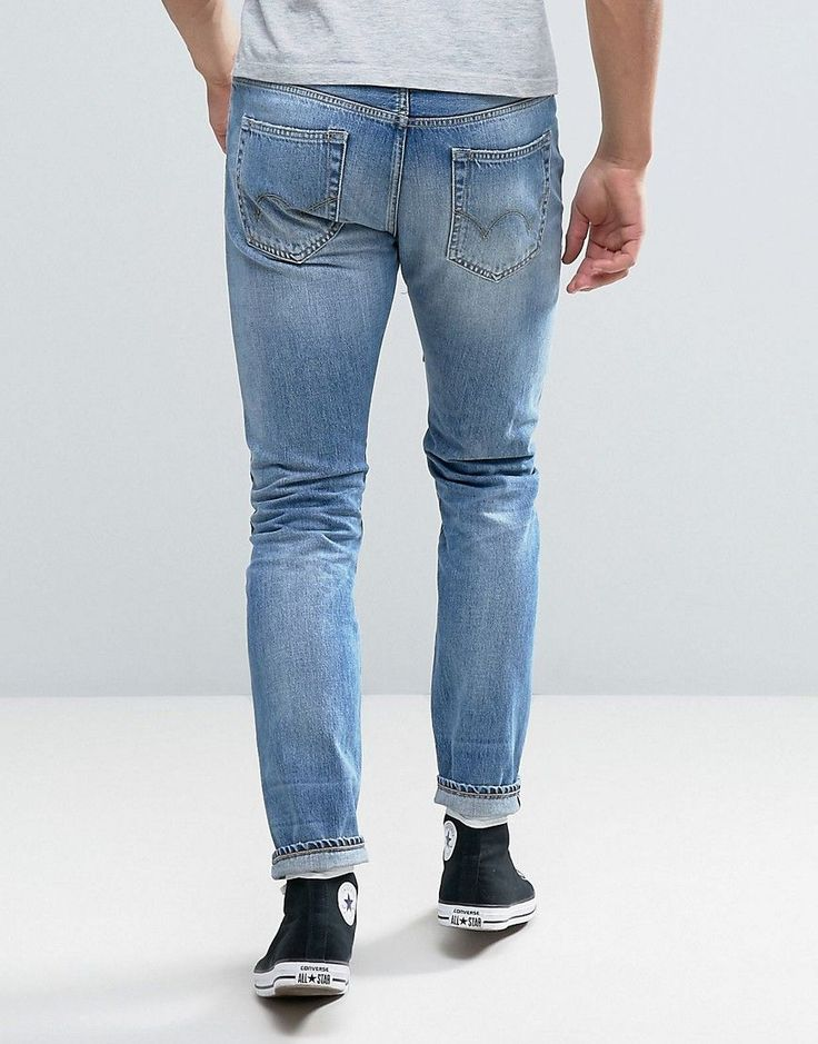 Edwin ED-80 Slim Tapered Jeans Light Sheild Wash Dye Patches - Blue