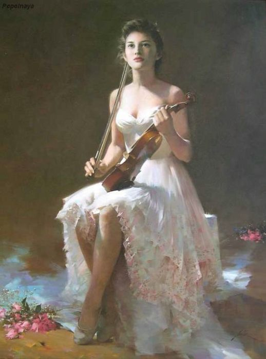 Женский образ в работах китайского художника Ан Хи (27 картин)
