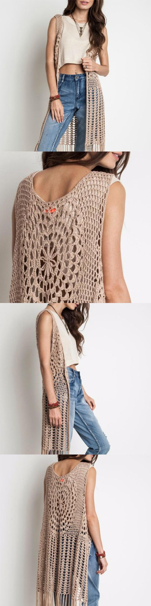 Harlow Crochet Vest By Umgee (taupe) From Tqs