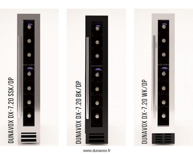 Les caves à vin Dunavox DX-7.20BK/DP, DX-7.20WK/DP et DX-7.20SSK/DP, d'une capacité de 7 bouteilles, sont à encastrer sous un plan de travail. Les dimensions ont été étudiées pour s'insérer dans la niche habituellement utilisée comme placard à épices : Hauteur 825 mm / Largeur 148 mm / Profondeur 525 mm.