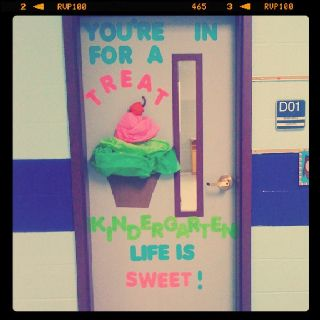 Cupcake theme kindergarten door...You're in for a treat... Kid's Co life is sweet. @Christina Childress Childress & Dezuanni Sheade