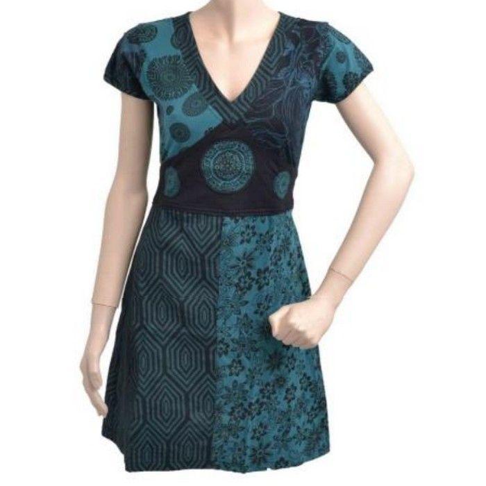 Tunique ethnique noire et pétrole ASH1301PETROL : Desyria Shop : Boutique gothique et modes alternatives vêtement et accessoires