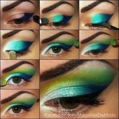 Increible maquillaje,colores vivos!
