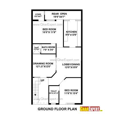 House Plan for 25 Feet by 53 Feet plot (Plot Size 147 Square Yards) - GharExpert.com