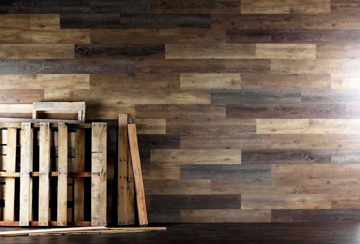 Pallet wood look peel and stick wall planks wide plank for Reclaimed pallet wood wall