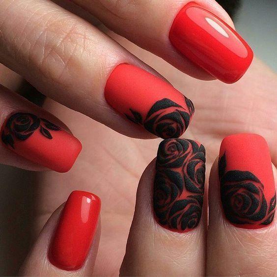Ногти дизайн красные длинные